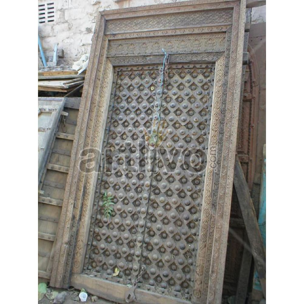 Antique Indian Carved Illustrious Solid Wooden Teak Door