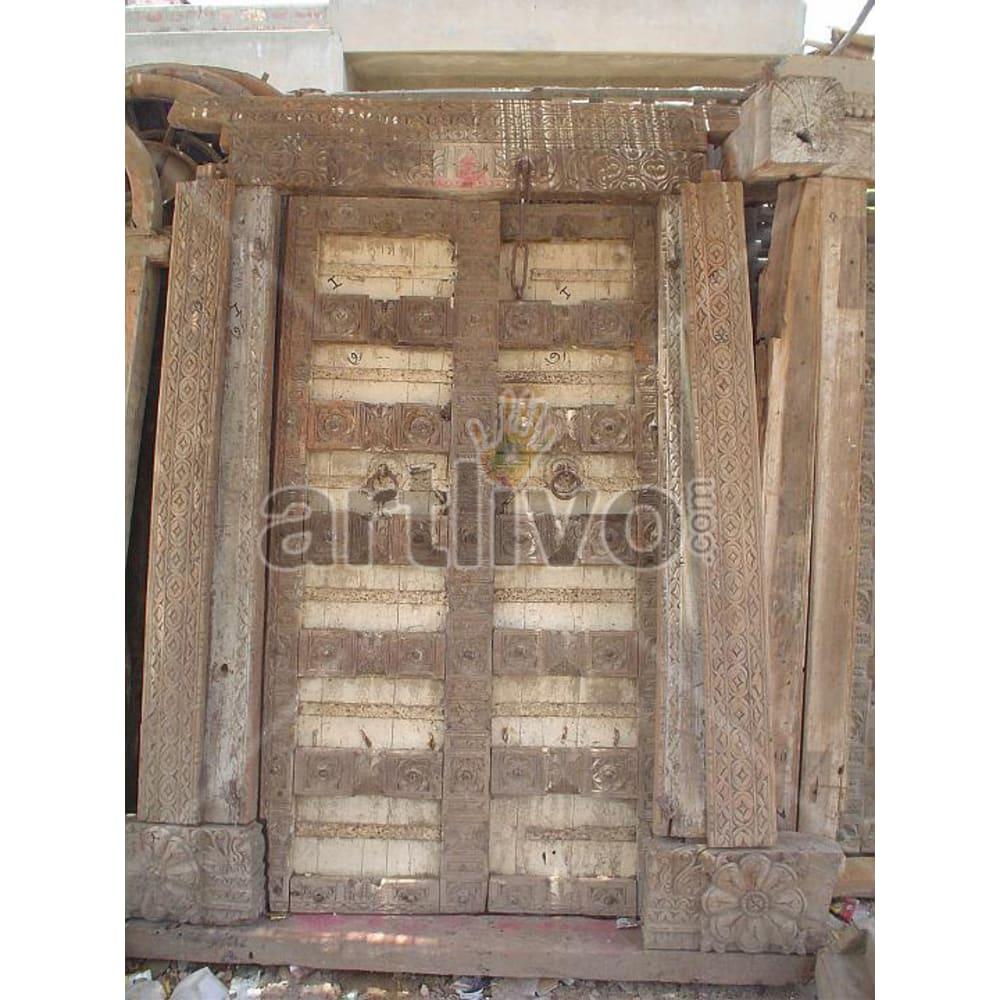Antique Indian Brown Lavish Solid Wooden Teak Door