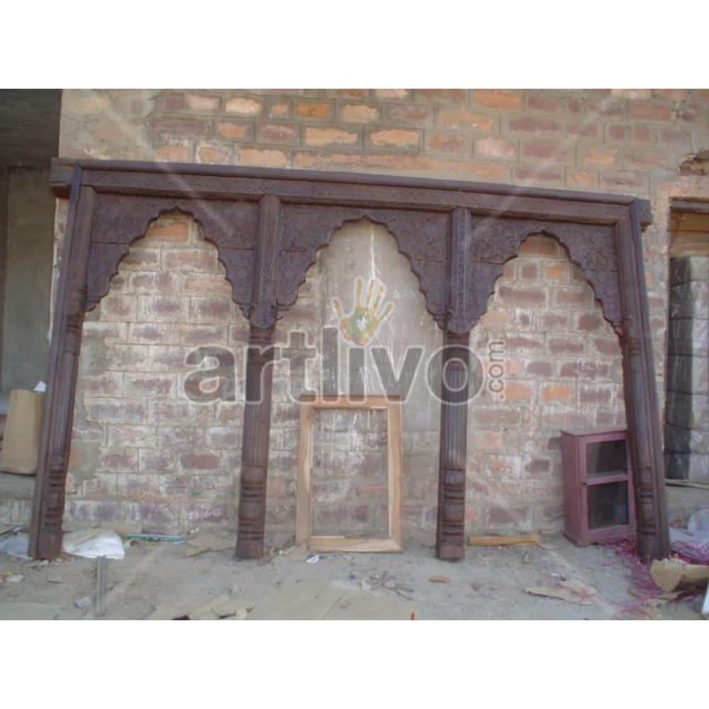 Antique Indian Chiselled Rich Solid Wooden Teak Door