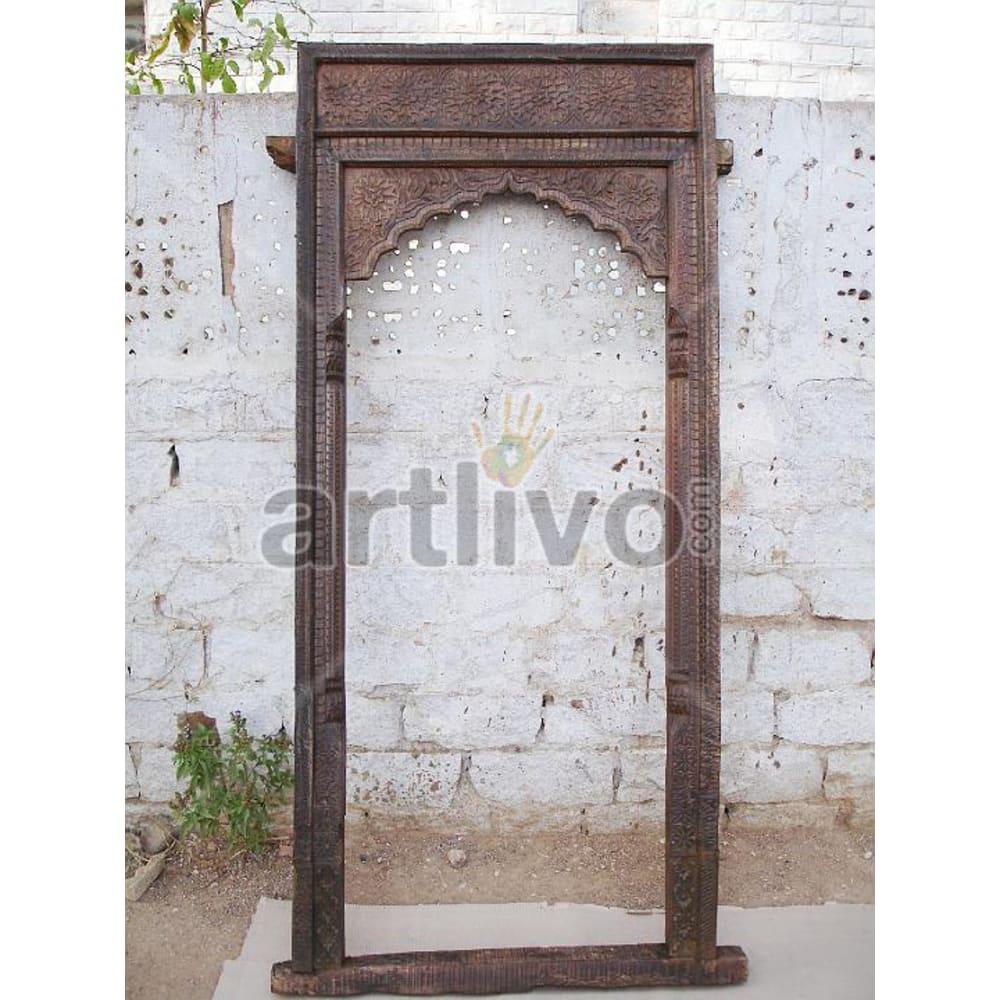 Antique Indian Chiselled Lavish Solid Wooden Teak Door