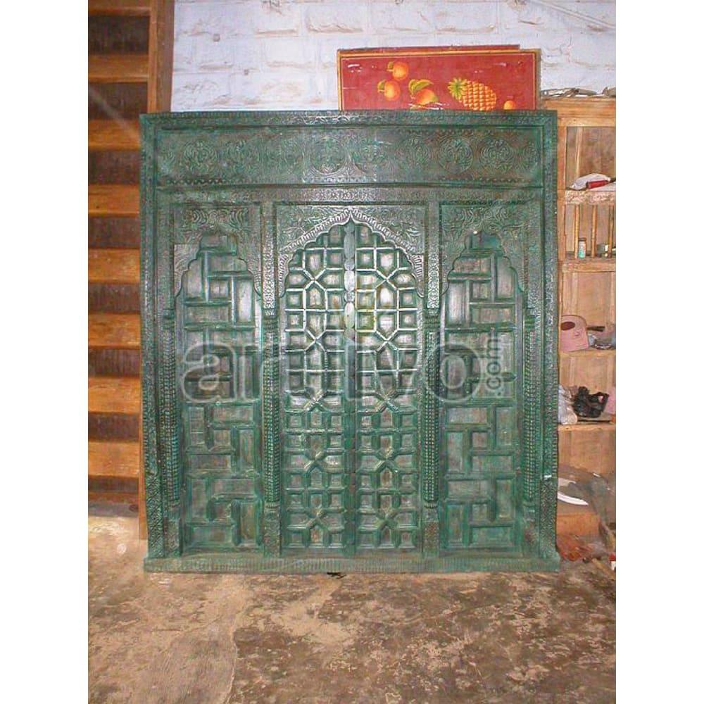 Antique Indian Chiselled Aristocratic Solid Wooden Teak Door