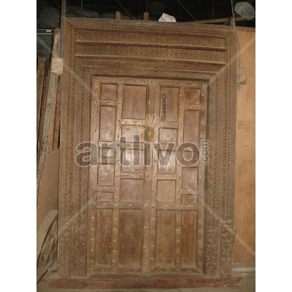 Antique Indian Engraved Extravagant Solid Wooden Teak Door