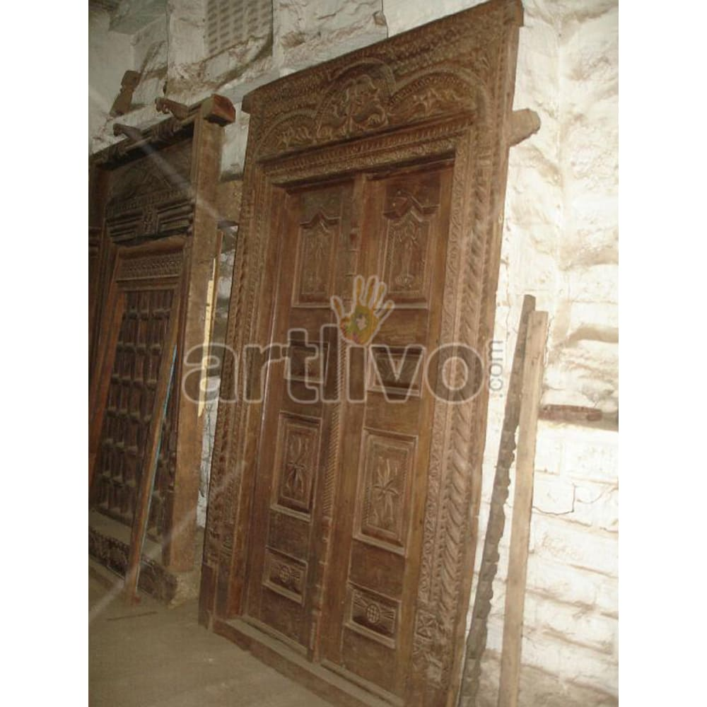 Antique Indian Engraved Royal Solid Wooden Teak Door