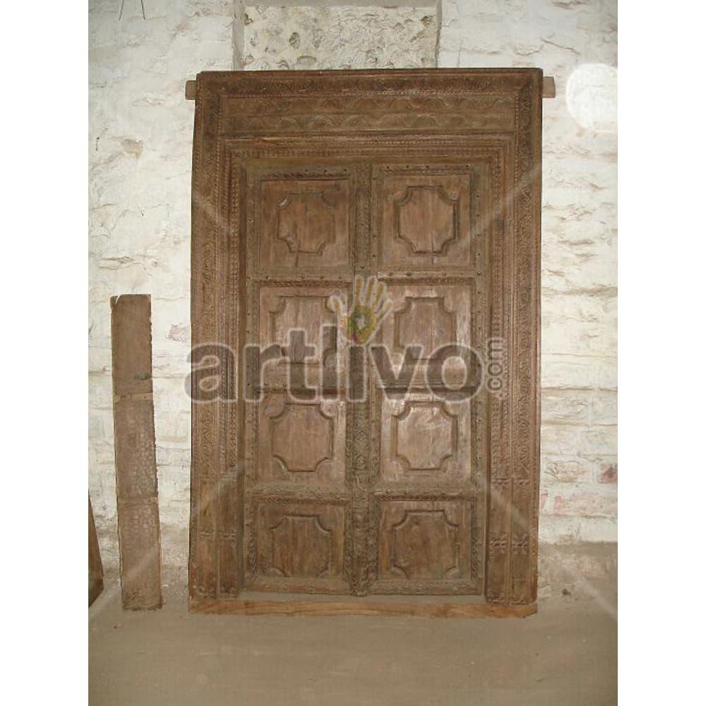 Antique Indian Engraved Imperial Solid Wooden Teak Door
