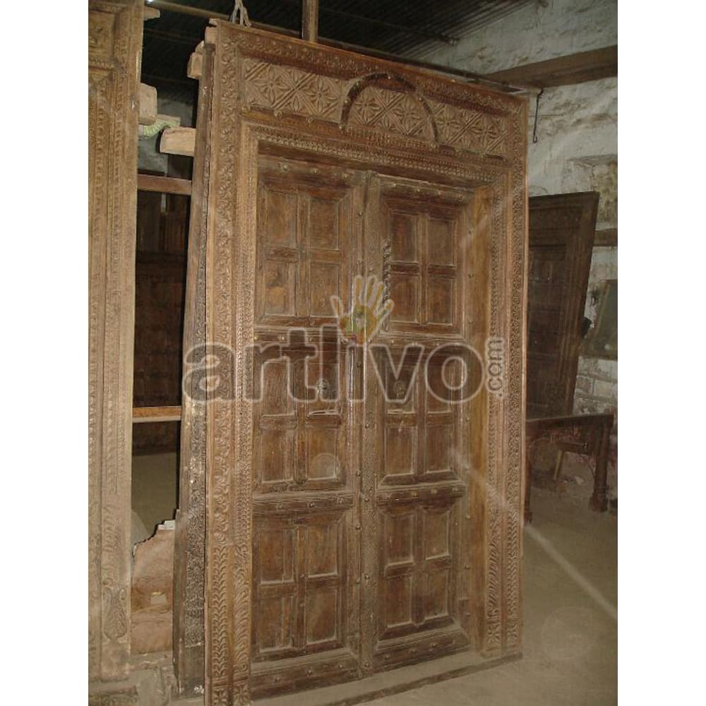 Antique Indian Engraved Splendid Solid Wooden Teak Door