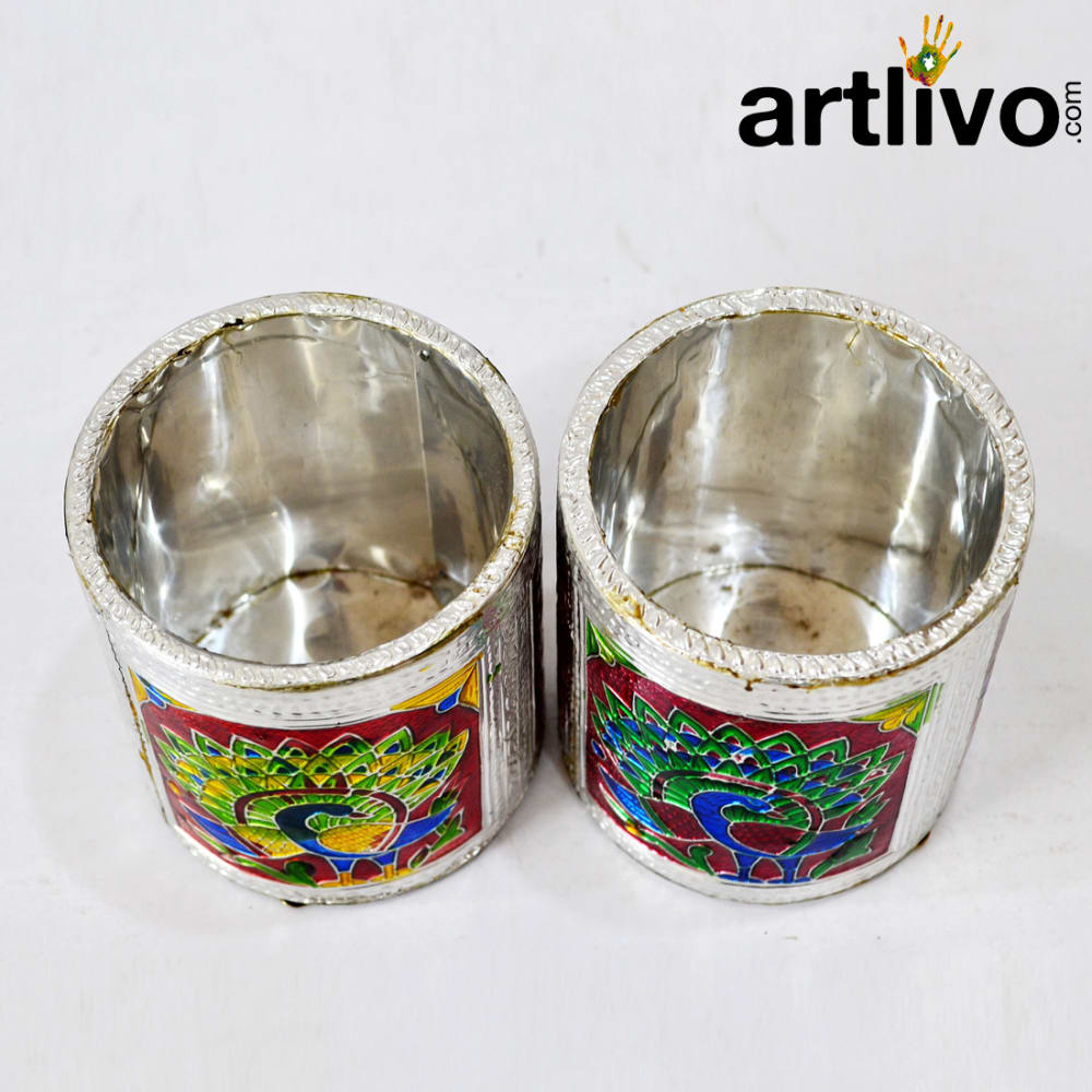 Silver Metal Round Pen holder set of 2