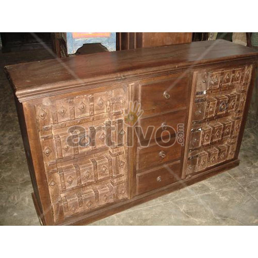 Vintage Indian Carved Supreme Solid Wooden Teak Sideboard with 4 drawer in middle and 2 door