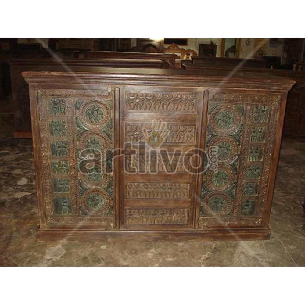 Vintage Indian Brown Rich Solid Wooden Teak Sideboard with 5 drawer in middle and 2 door