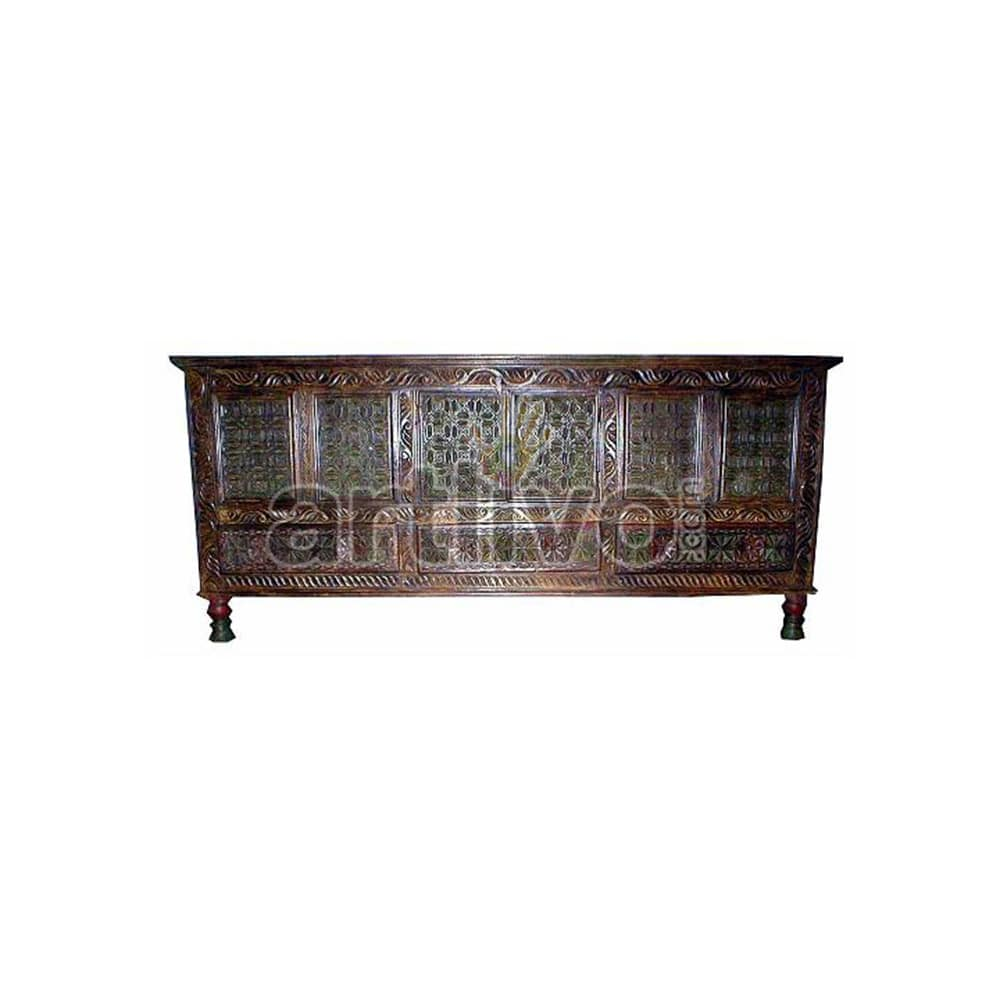 Vintage Indian Brown Palatial Solid Wooden Teak Sideboard with 9 block floral design