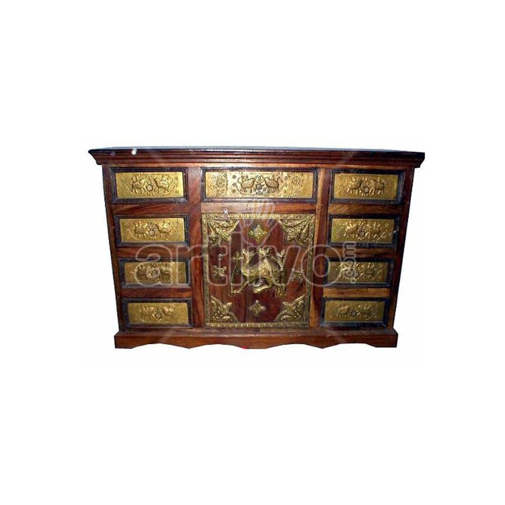 Vintage Indian Brown magnificent Solid Wooden Teak Sideboard with bronze work on 9 drawer & 1 door