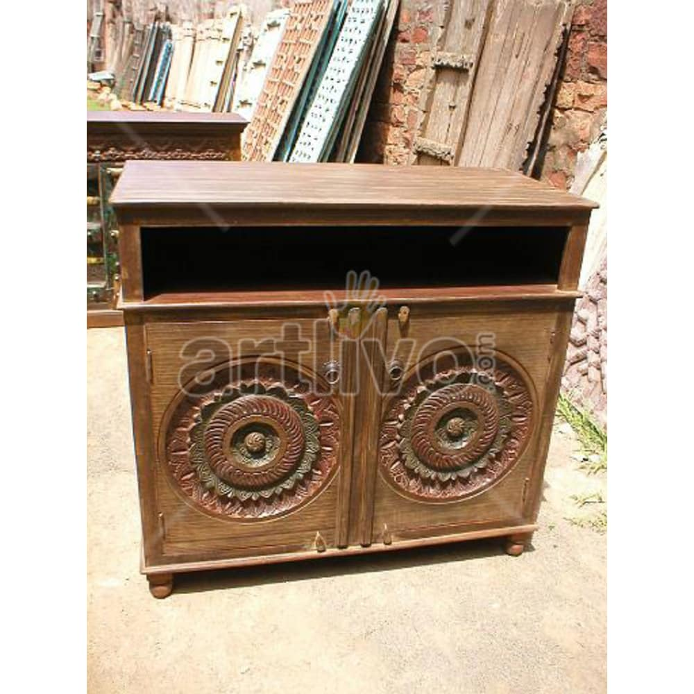 Vintage Indian Chiselled Opulent Solid Wooden Teak Sideboard with 2 door circular design