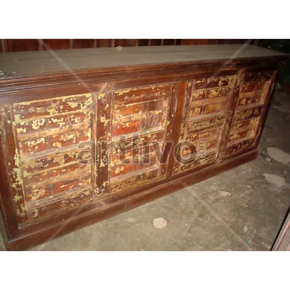 Vintage Indian Chiselled illustrious Solid Wooden Teak Sideboard with 4 door