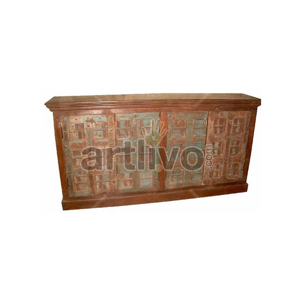 Vintage Indian Chiselled noble Solid Wooden Teak Sideboard with 4 door