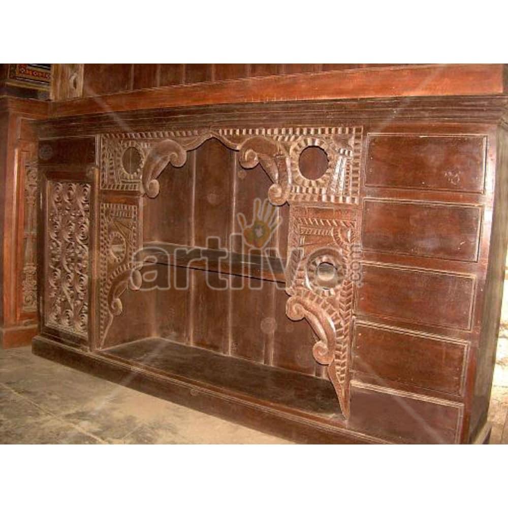 Vintage Indian Chiselled stately Solid Wooden Teak Sideboard with 6 drawer 1 door