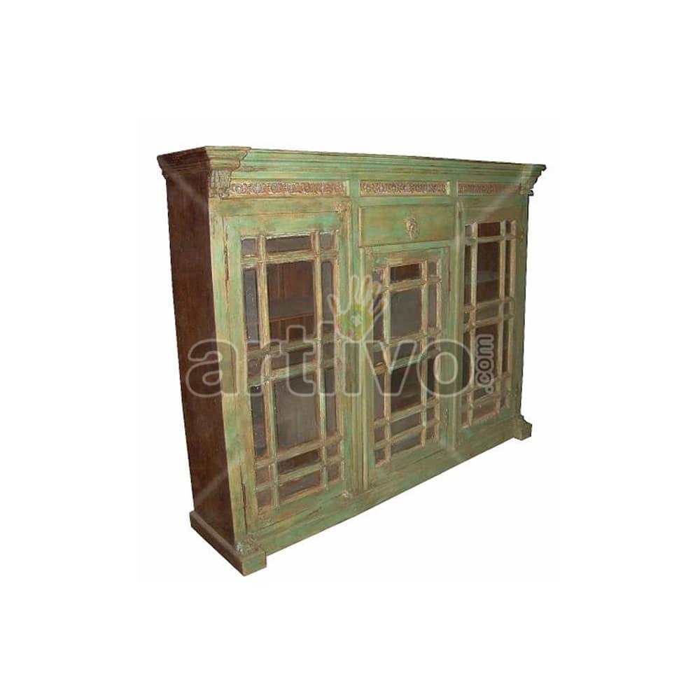 Vintage Indian Chiselled Marvellous Solid Wooden Teak Sideboard with 1 drawer 3 door