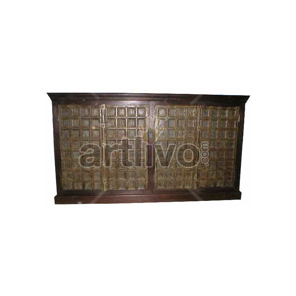Vintage Indian Engraved Extravagant Solid Wooden Teak Sideboard with 4 door sqaure design