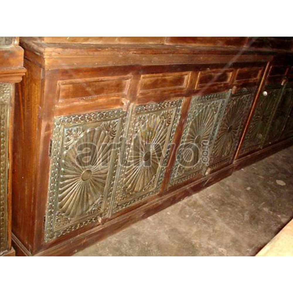 Vintage Indian Beautiful illustrious Solid Wooden Teak Sideboard