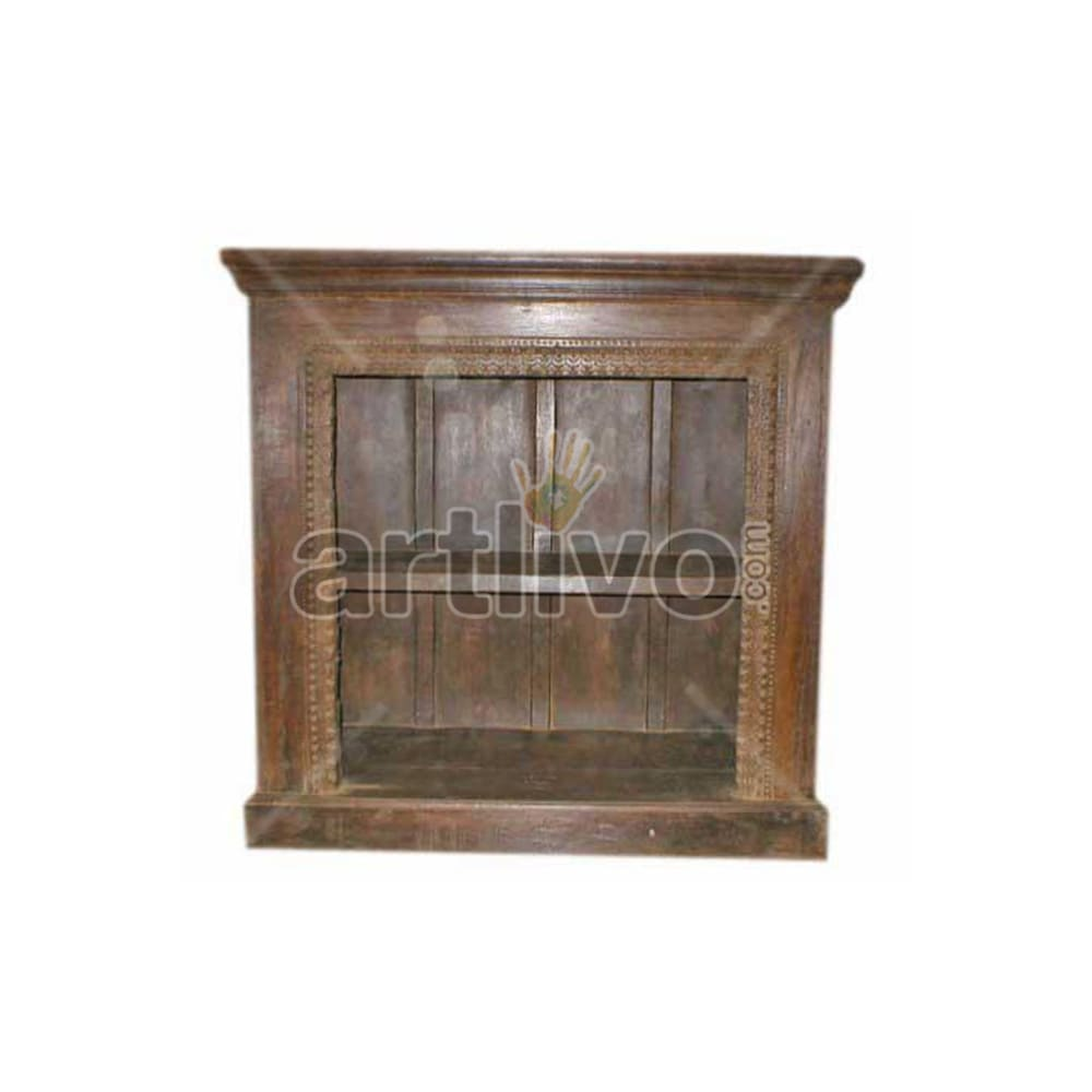 Antique Indian Brown Rich Solid Wooden Teak Sideboard