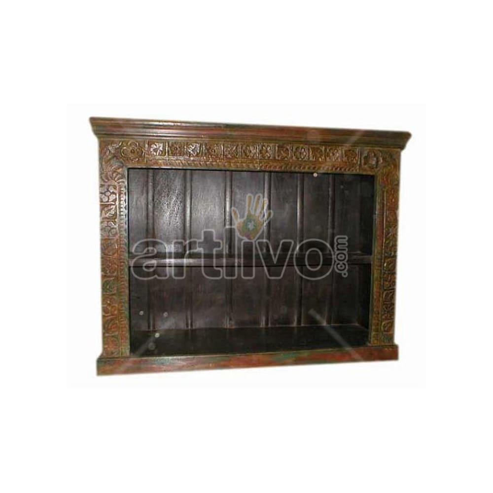 Antique Indian Brown Unique Solid Wooden Teak Sideboard