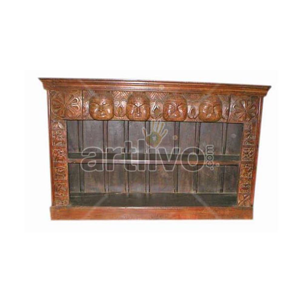 Antique Indian Brown Opulent Solid Wooden Teak Sideboard
