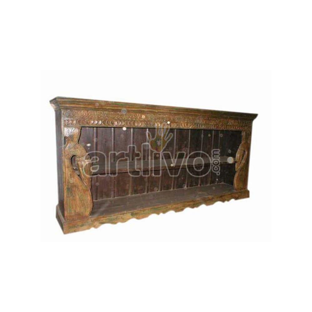 Antique Indian Brown Lavish Solid Wooden Teak Sideboard