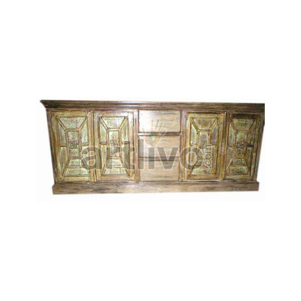 Antique Indian Brown stately Solid Wooden Teak Sideboard