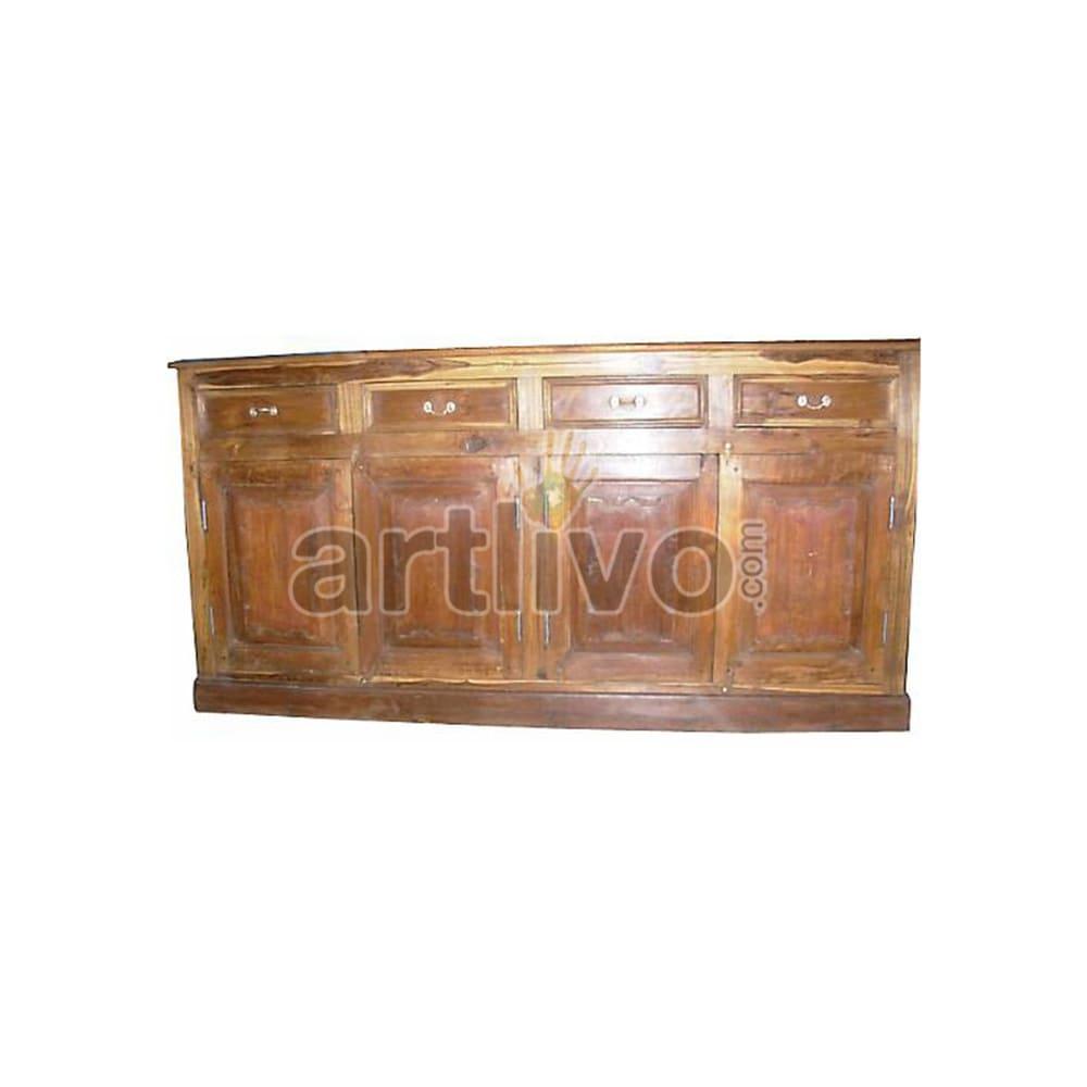 Antique Indian Engraved Unique Solid Wooden Teak Sideboard