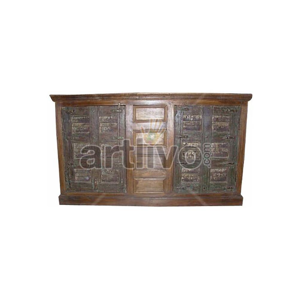 Antique Indian Engraved Opulent Solid Wooden Teak Sideboard