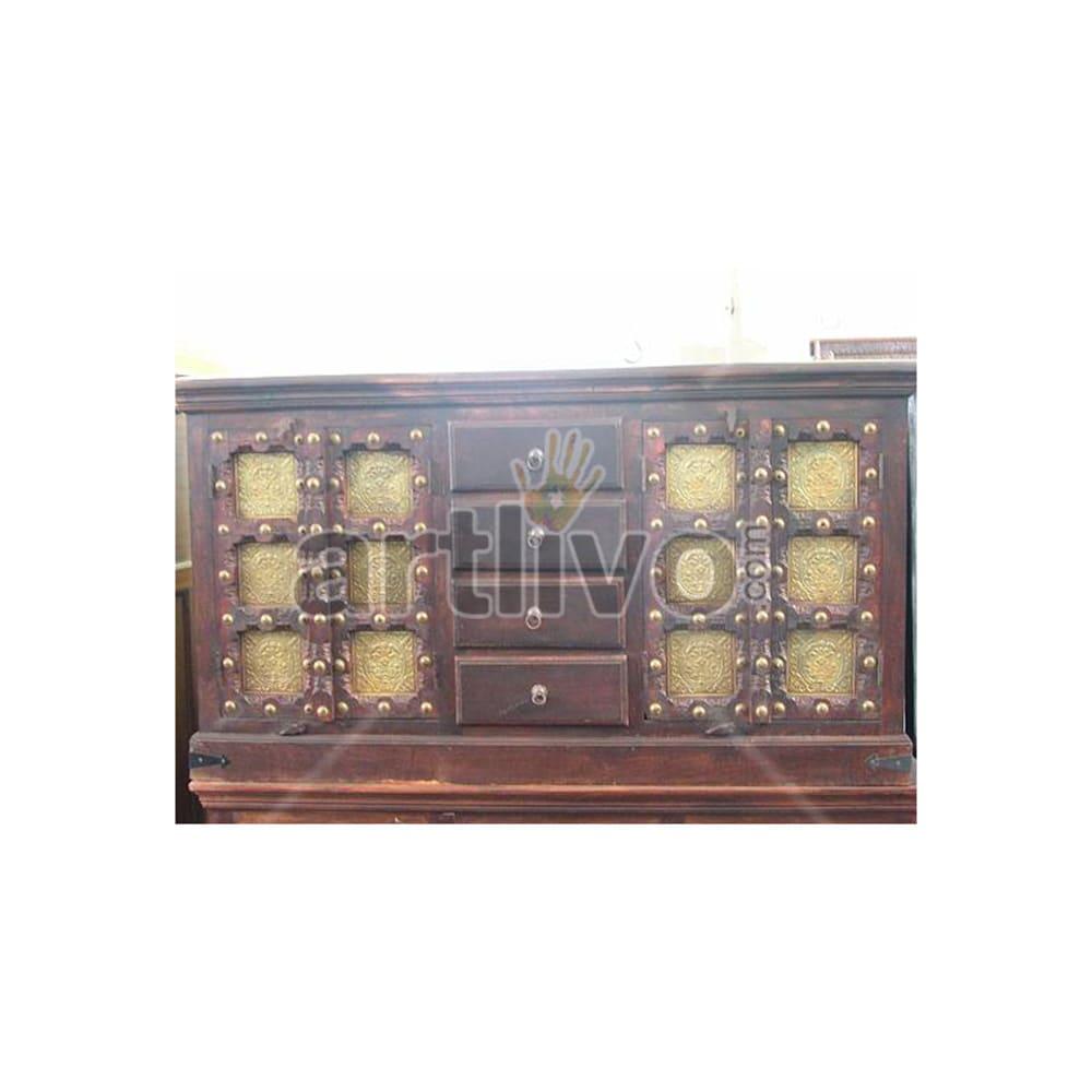Antique Indian Engraved Lavish Solid Wooden Teak Sideboard