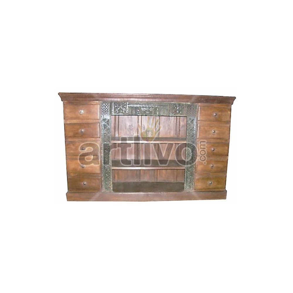 Antique Indian Engraved Palatial Solid Wooden Teak Sideboard