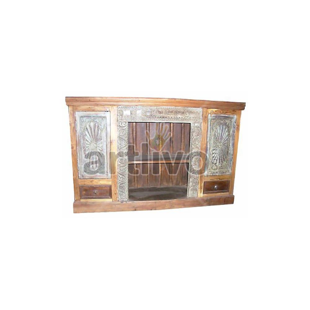 Antique Indian Engraved illustrious Solid Wooden Teak Sideboard
