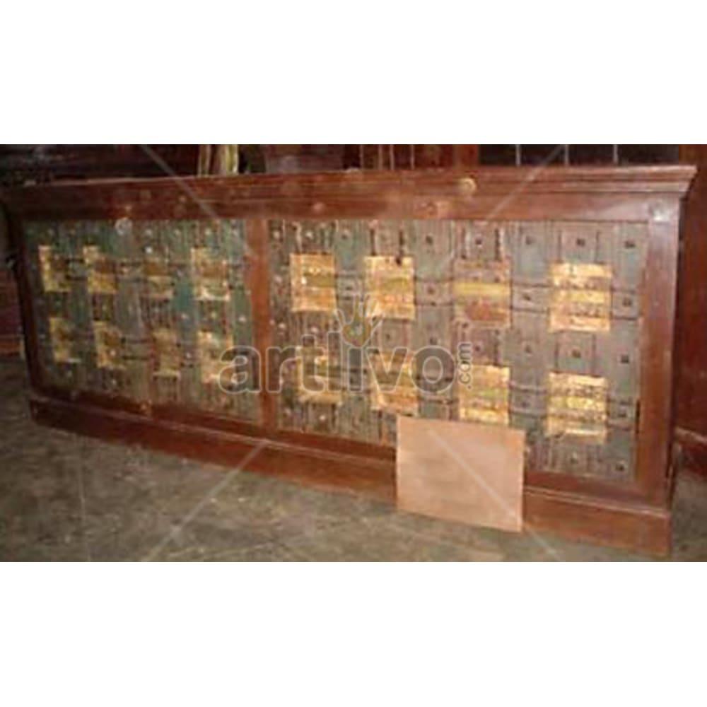 Antique Indian Engraved Splendid Solid Wooden Teak Sideboard