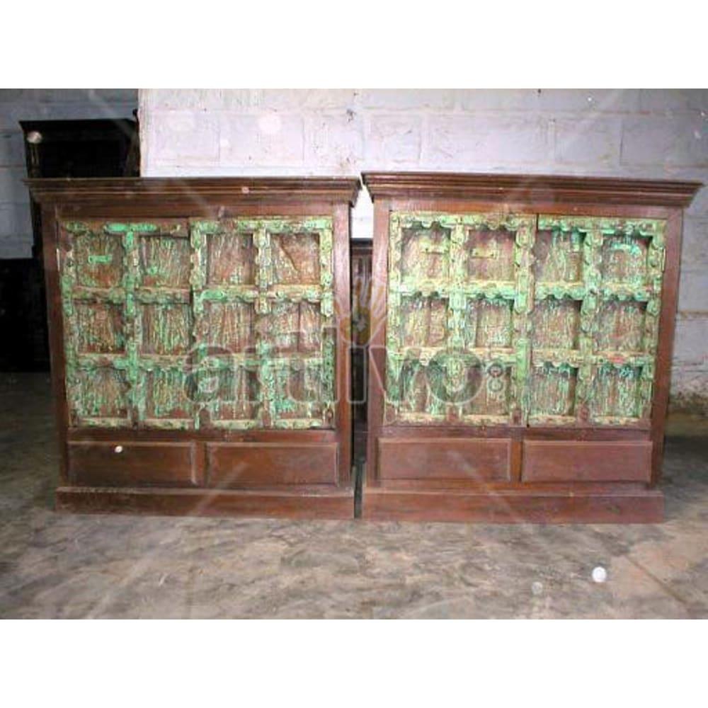 Antique Indian Sculpted Plush Solid Wooden Teak Sideboard