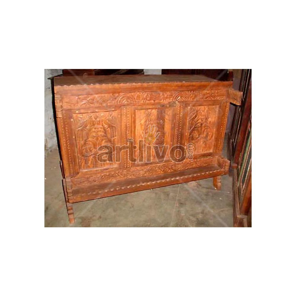 Old Indian Carved Lavish Solid Wood brown color Trunk