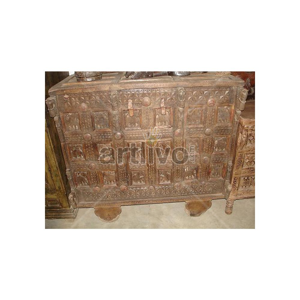 Old Indian Carved magnificent Solid Wood brown color Trunk