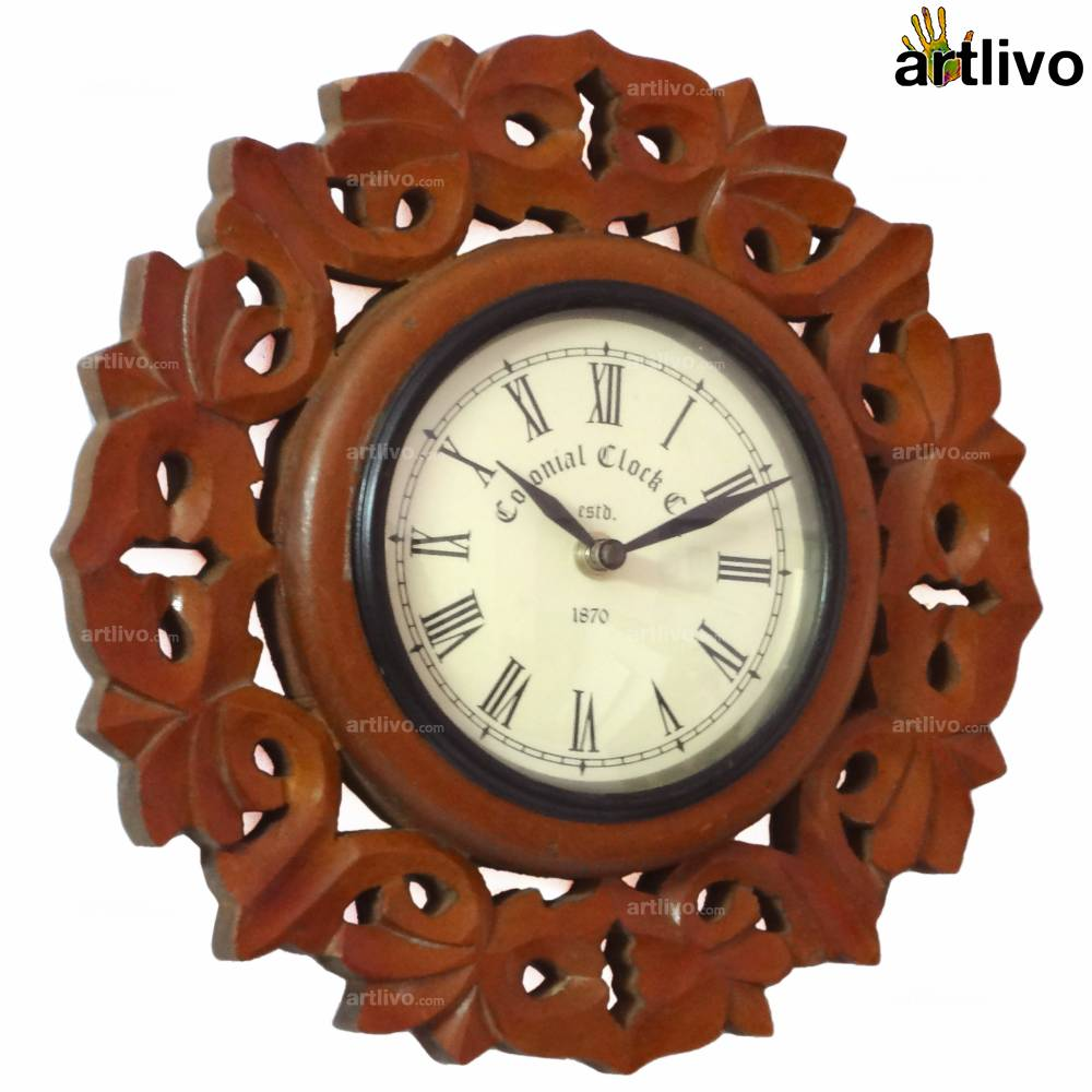 """Wooden Carved Round Wall Clock 11"""""""