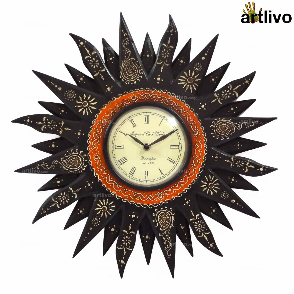 EMBOSSED Black Sunny Wall Clock