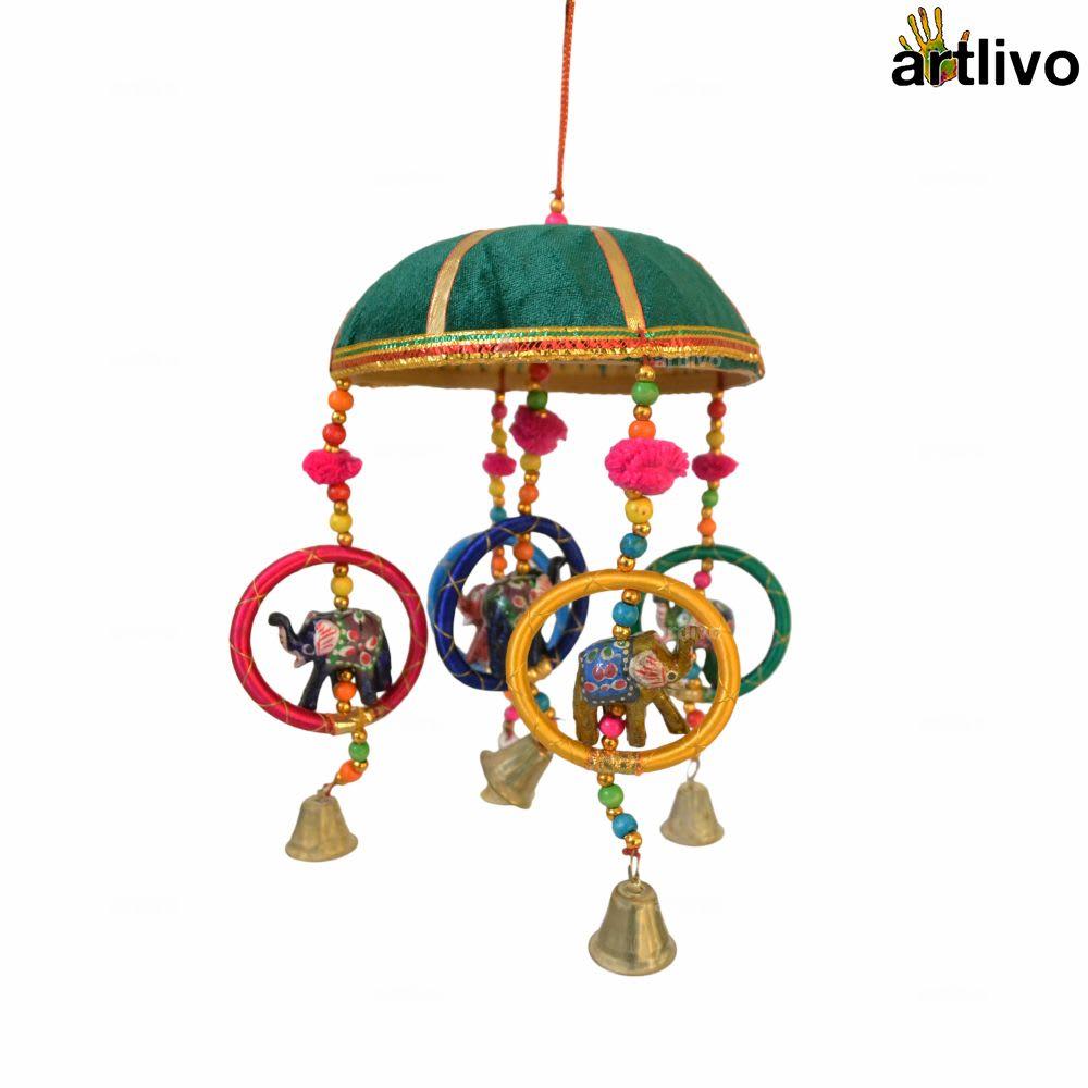 "POPART 6"" Basket with Elephant-Chudi-Bells Hanging - Green"