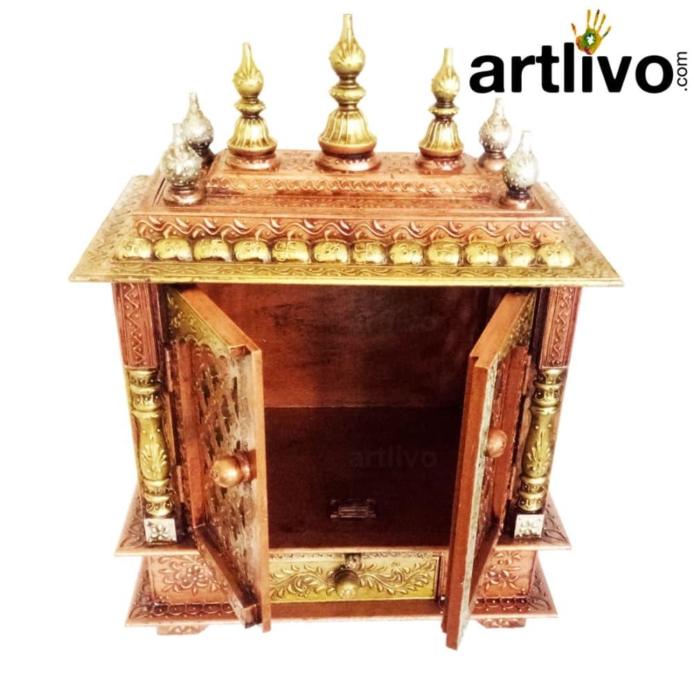 Artlivo Brown Wooden Temple with Door