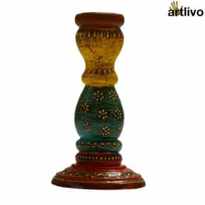 Embossed Multicolor Taper Candle Holder