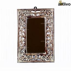 Athena White Carved Mirror Frame