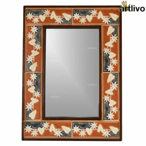 22 Inches Decorative Floral Tile Mirror Frame