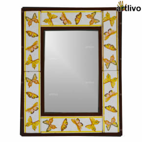 17 Inches Wooden Handcrafted Butterfly Tile Mirror Frame
