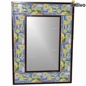 "22"" Decorative Bathroom Wall Hanging Tile Mirror Frame - MR067"