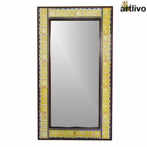 "40"" Decorative Bathroom Wall Hanging Tile Mirror Frame"