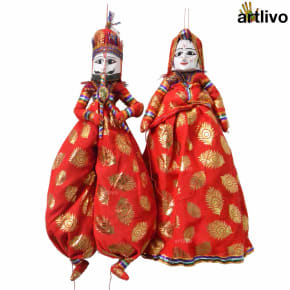 "POPART Red Brocade Kathputli Puppet Set 20"""