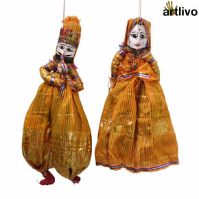 "POPART Yellow Shiny Kathputli Puppet Set 20"""