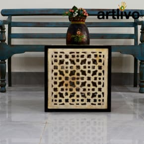 Wooden Gril Stool: White