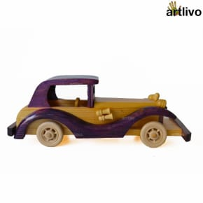 Wooden Carved Violet Toy Car