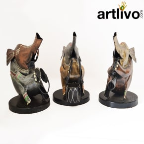 Metal Elephant Musician Set Of 3